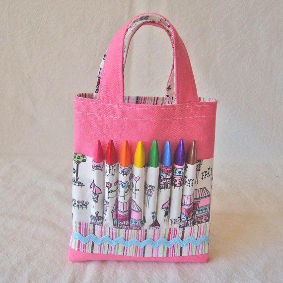 Crayon Tote Crayon Bag Coloring Bag Art Tote Crayon Etsy Art Supplies Bag Artist Bag Sewing For Kids