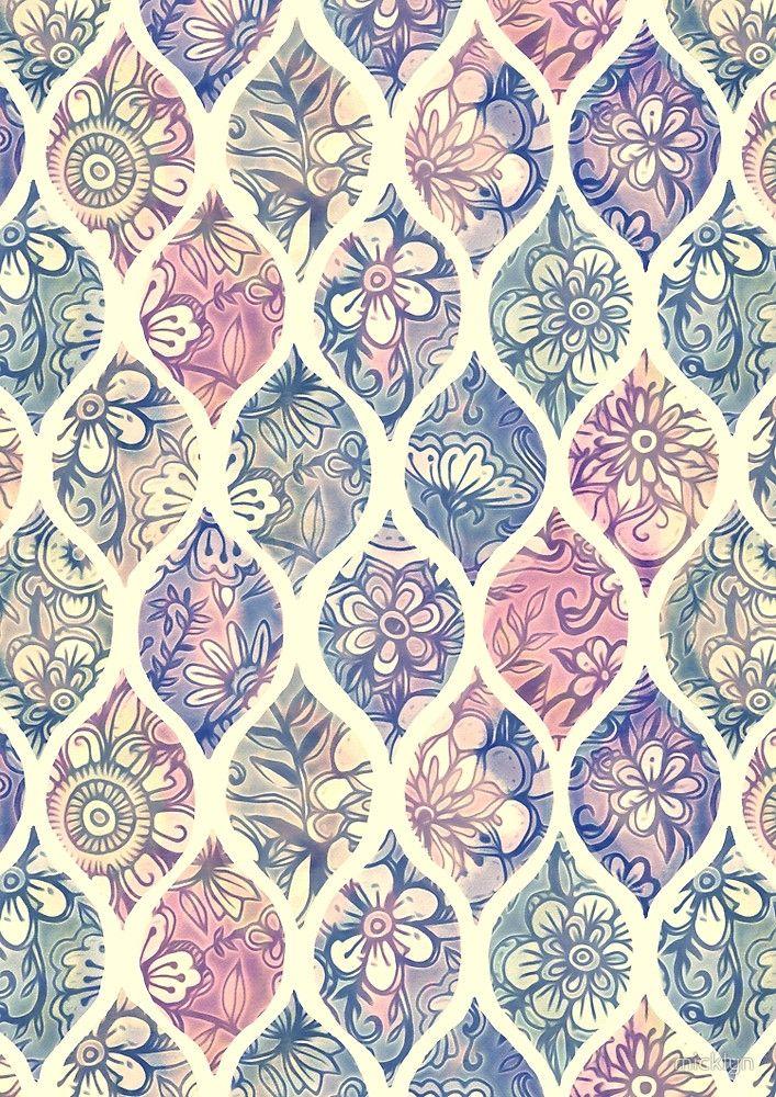 Patterned Painted Floral Ogee In Vintage Tones By Micklyn