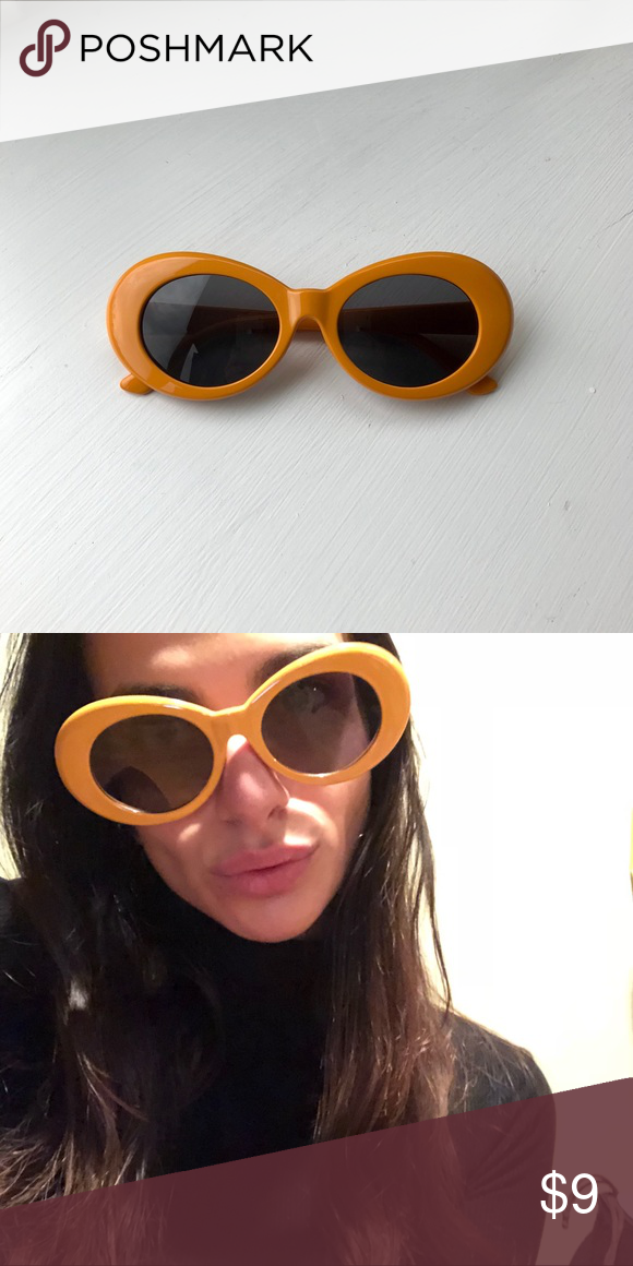 c1e6536607dd2 Orange Clout Goggles Clout goggles • round oval glasses • 90s vintage Kurt  Cobain glasses •