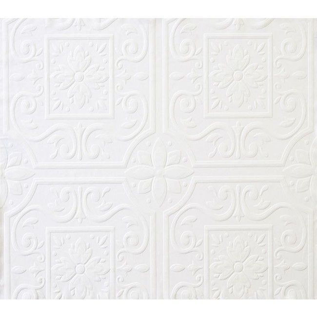 Faux Large Tin Ceiling Tile Textured Puffy Paintable Wallpaper