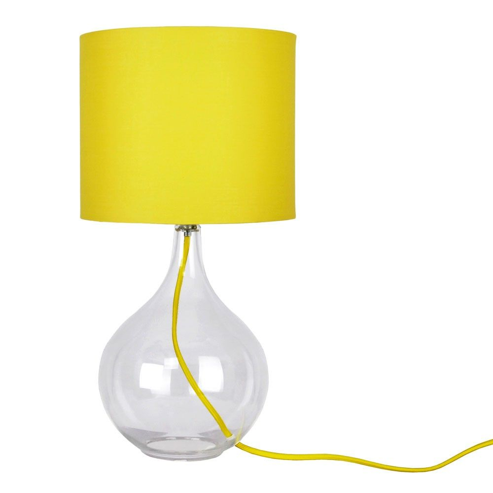 Yellow Table Lamps | Cheap Large Yellowu0026 Clear Glass Table Lamp   Valuelights UK