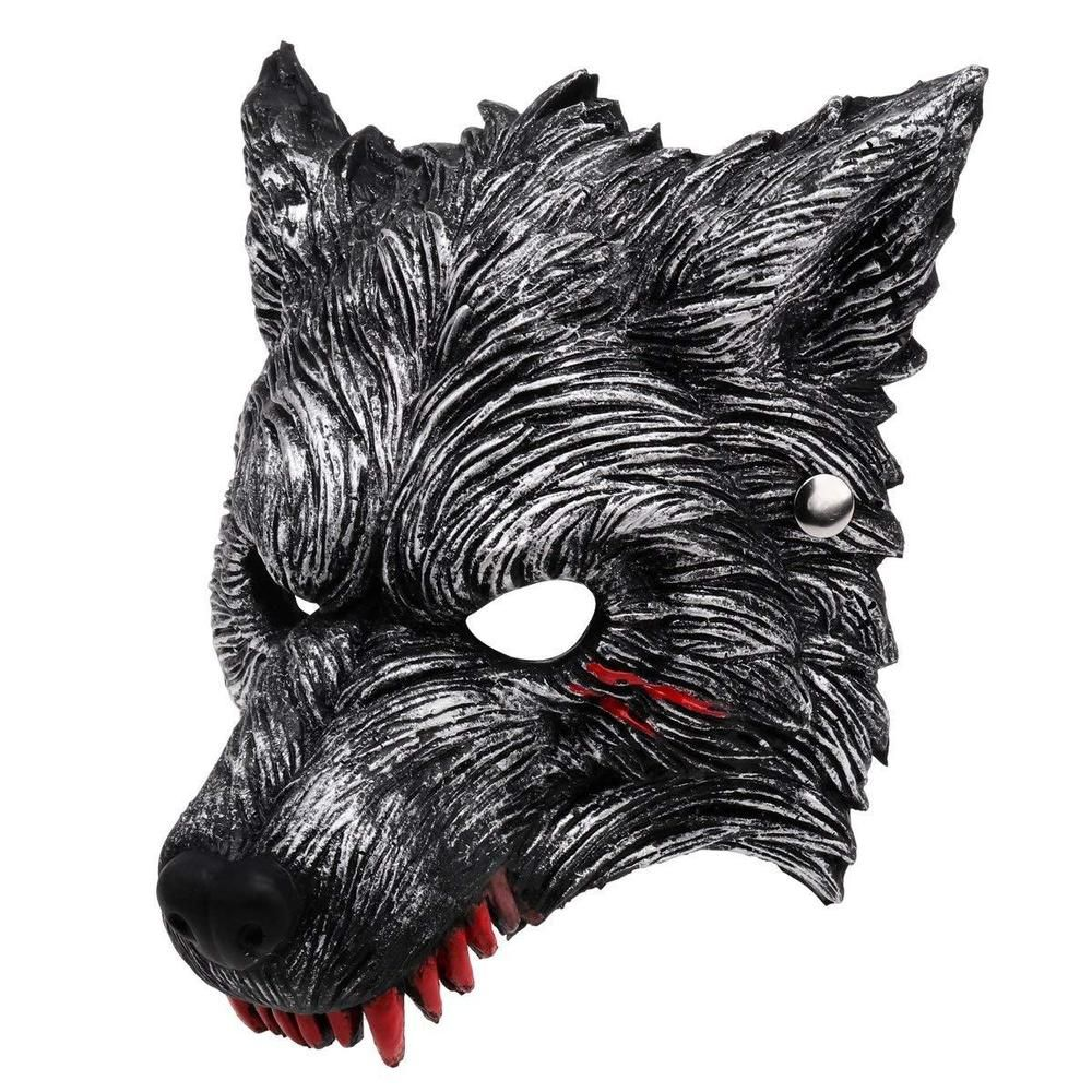 Adult Halloween Animals /& Nature Half Face Wolf Mask Fancy Dress Accessory