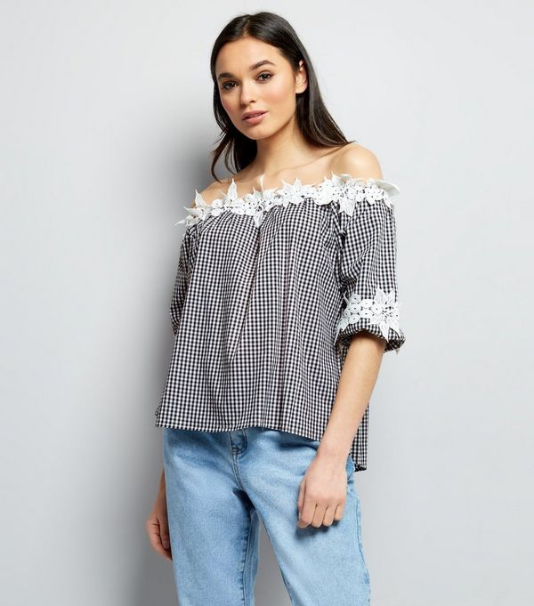 Pictures Cheap Online Clearance Fashion Style Broderie Bardot Top - Black New Look Outlet With Paypal Order jnzM83N