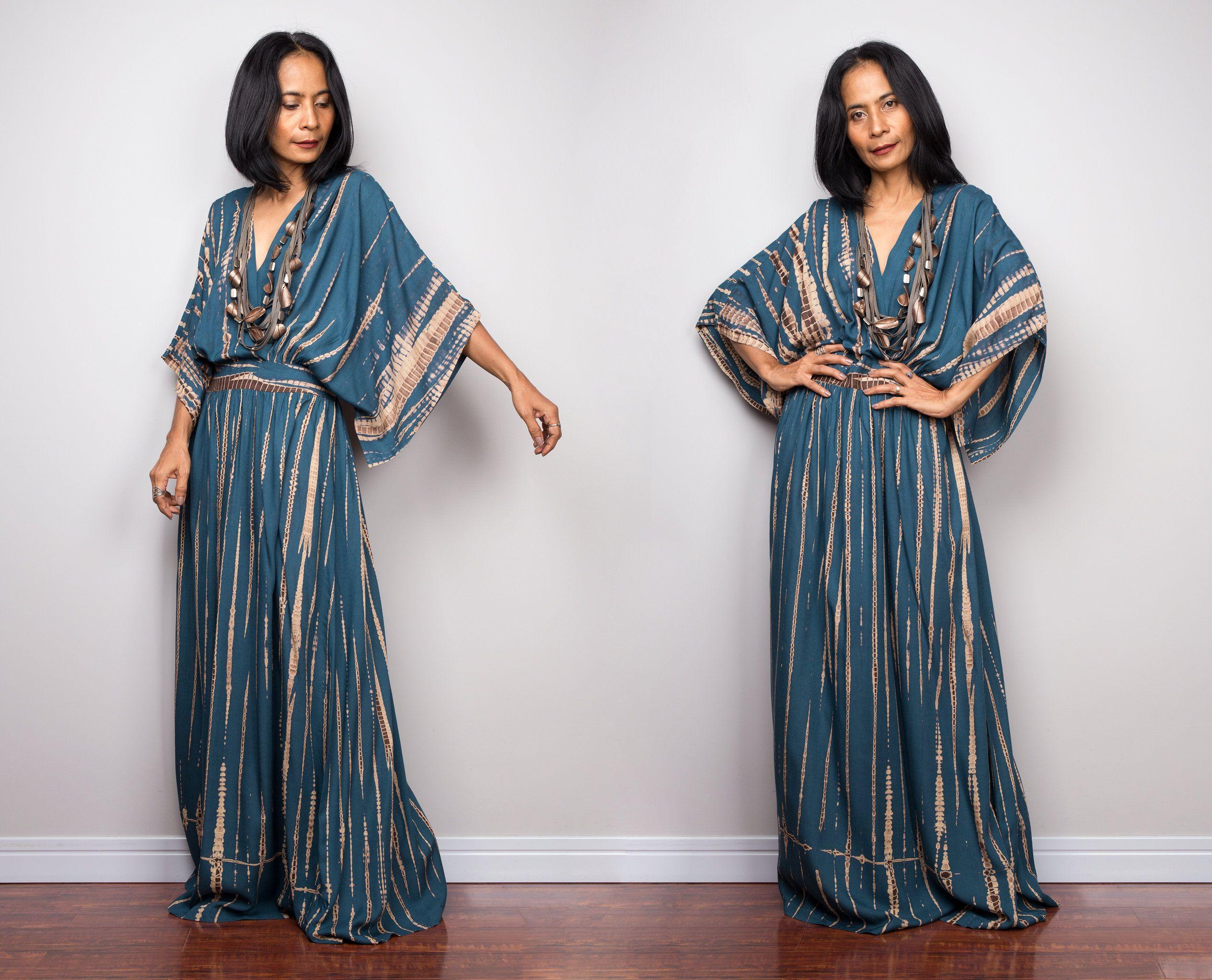 Tie Dye Kimono Kaftan Dress Summer Kaftan Dress Teal Maxi Etsy [ 2049 x 2534 Pixel ]