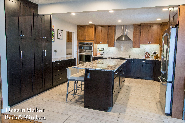 U shaped Kitchen Shaker Maple Cabinets Tile Flooring