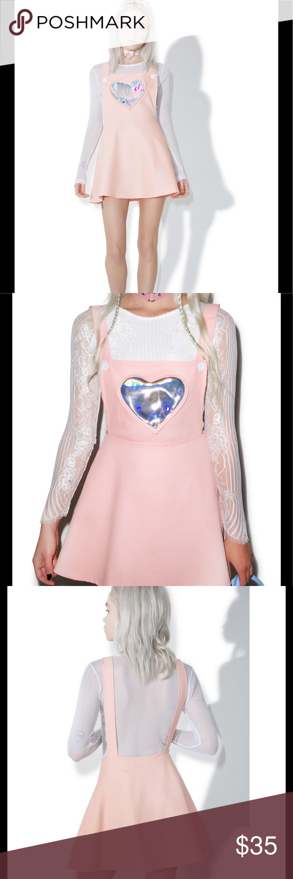 4b245ef5252 Dolls Kill Hologram Heart Pink Overall Skirt Dress Electra Heart Overall  Dress is gunna shoot  em with lovey-dovey heart beams! This adorable overall  dress ...