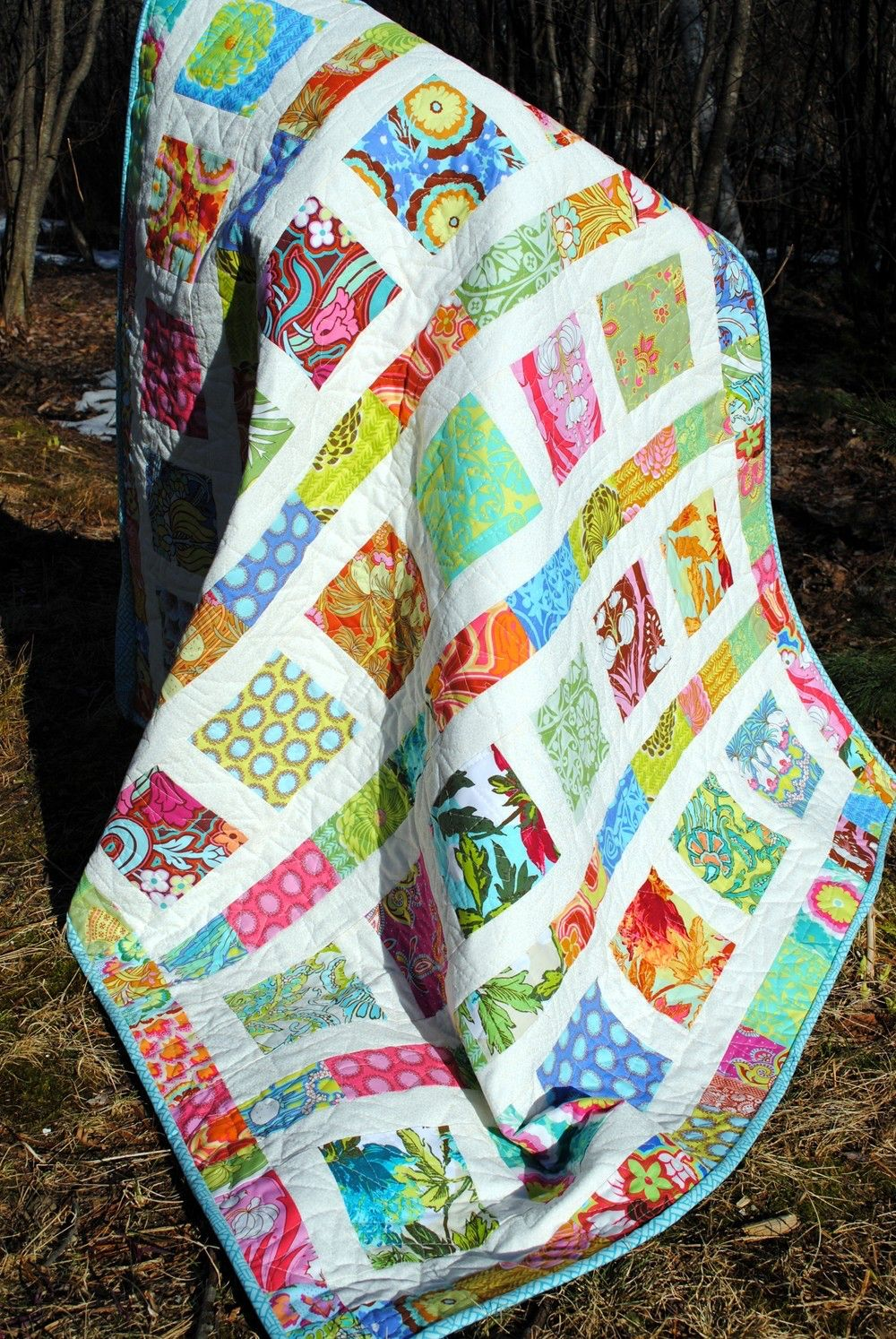 Baby QUILT PATTERN....Quick and Easy...2 Charm Square Packs, Flowers in the Sunshine by sweetjane on Etsy https://www.etsy.com/listing/84726098/baby-quilt-patternquick-and-easy2-charm