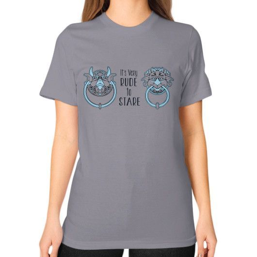 ITS VERY RUDE Unisex T-Shirt (on woman)