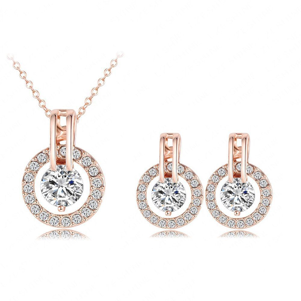 Circle of Ice - 18K Rose Gold plated & Cubic Zirconia Jewelry Set