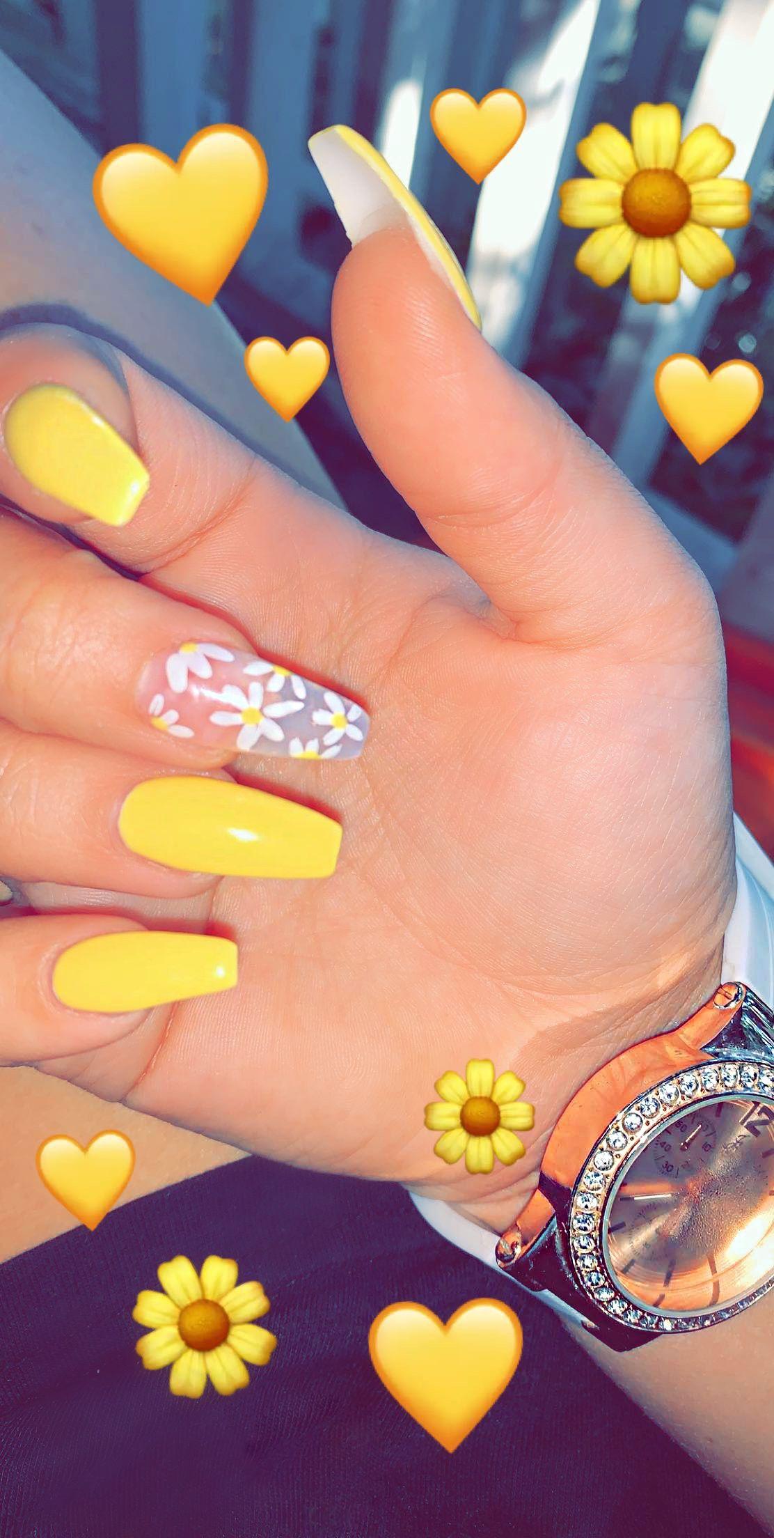 Yellow Summer Nails Summer Toe Nails White Acrylic Nails Yellow Nails Design