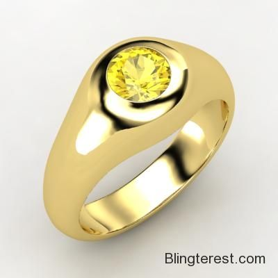 Round Yellow #Sapphire, Solitaire, Bezel Set #Ring in 18K Yellow #Gold  #Jewelry http://blingterest.com/mens/mens-rings/round-yellow-sapphire-solitaire-bezel-set-ring-in-18k-yellow-gold-938685-jewelry/