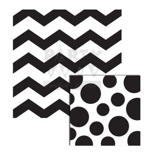Black Chevron and Dots Reversible Lunch Napkins