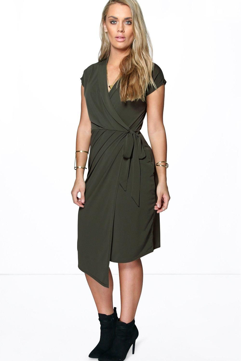 Plus Nicole Wrap Front Midi Dress | Midi dresses, Wraps and Boohoo