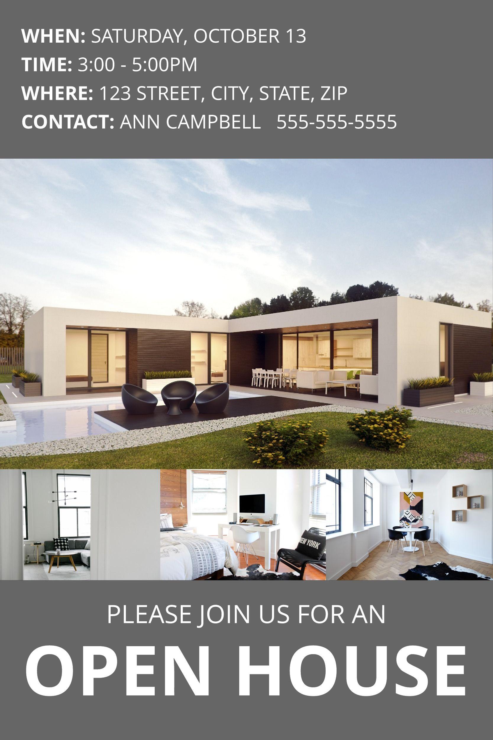 Modern Open House Pinterest Post Template Real Estate