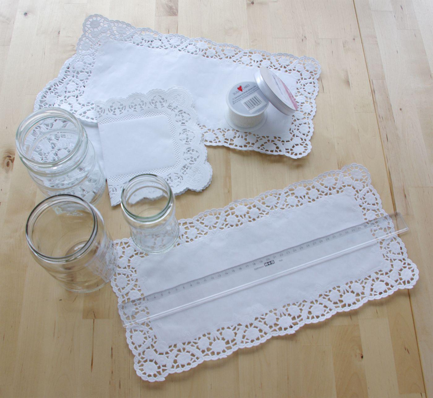 Hochzeits special windlichter kerzen deko glas spitze diy for Deko ideen kerzen im glas