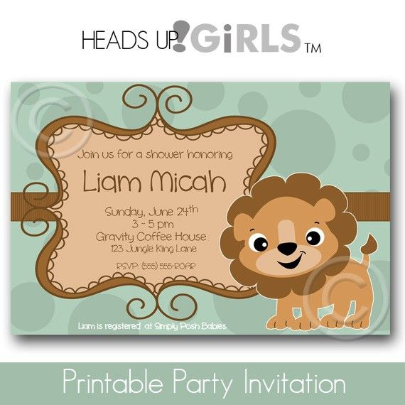 Lion Baby Shower Lamb Invitations Or