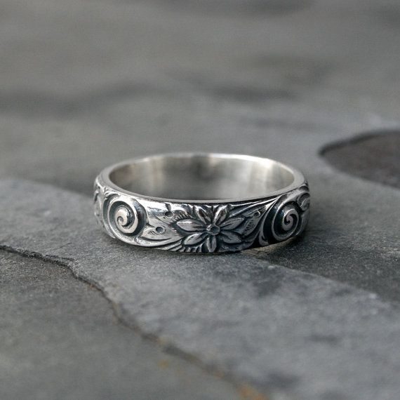 Flower Spiral Sterling Silver Ring Band, Etched Patterned