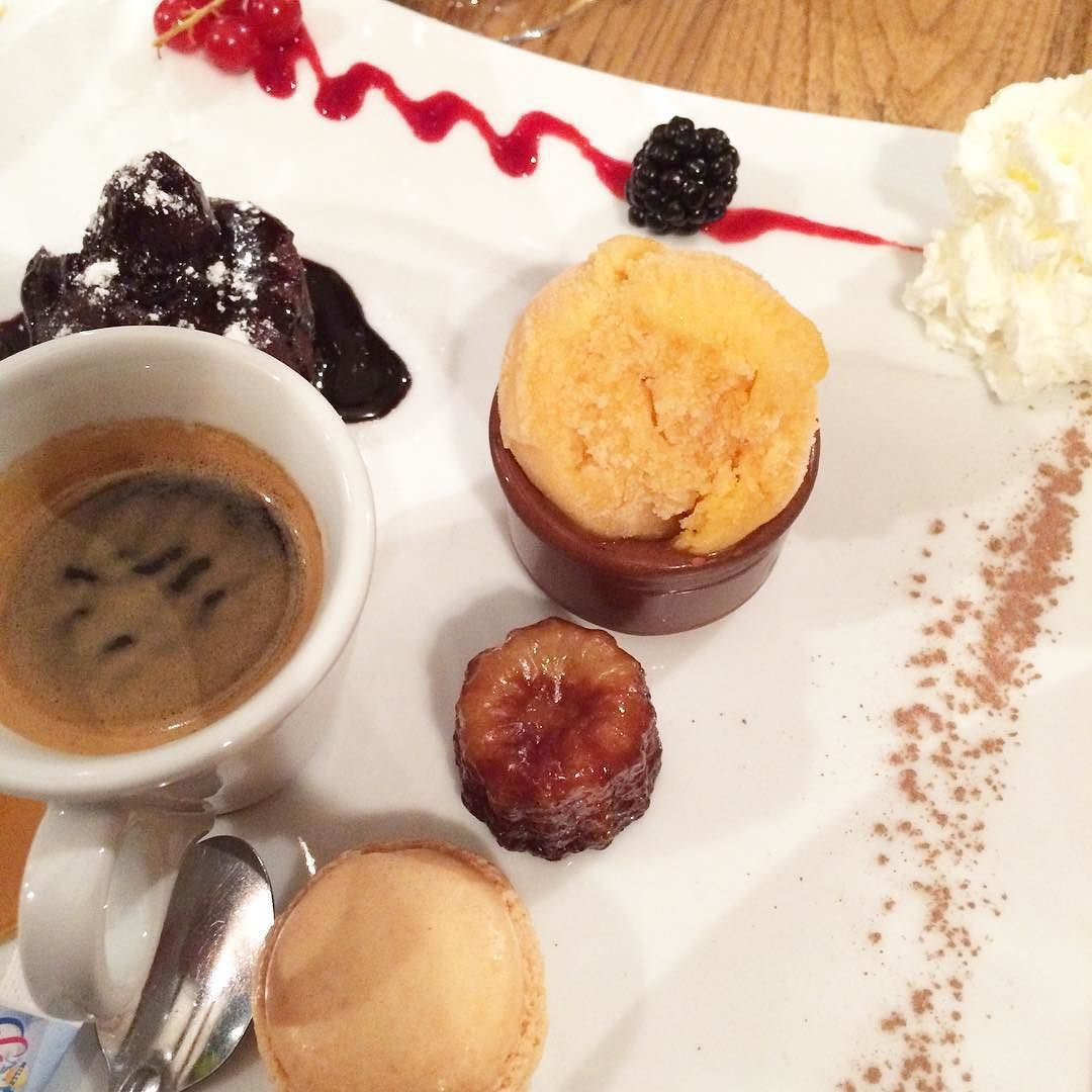 Fab idea Cafe Gourmand dessert - chocolate fondant apricot sorbet mini baba espresso at La Cabana #perpignan