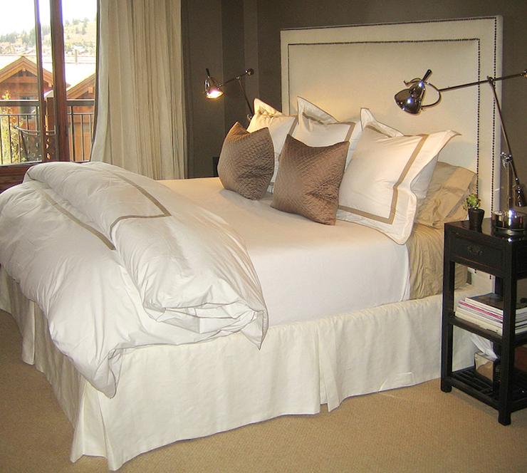 Chic Ivory U0026 Taupe Bedroom Design With White Nailhead Trim Headboard, Sisal  Rug, Taupe