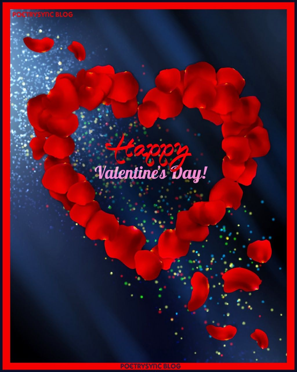 happy valentines day card made with red rose petals u0026 heart for