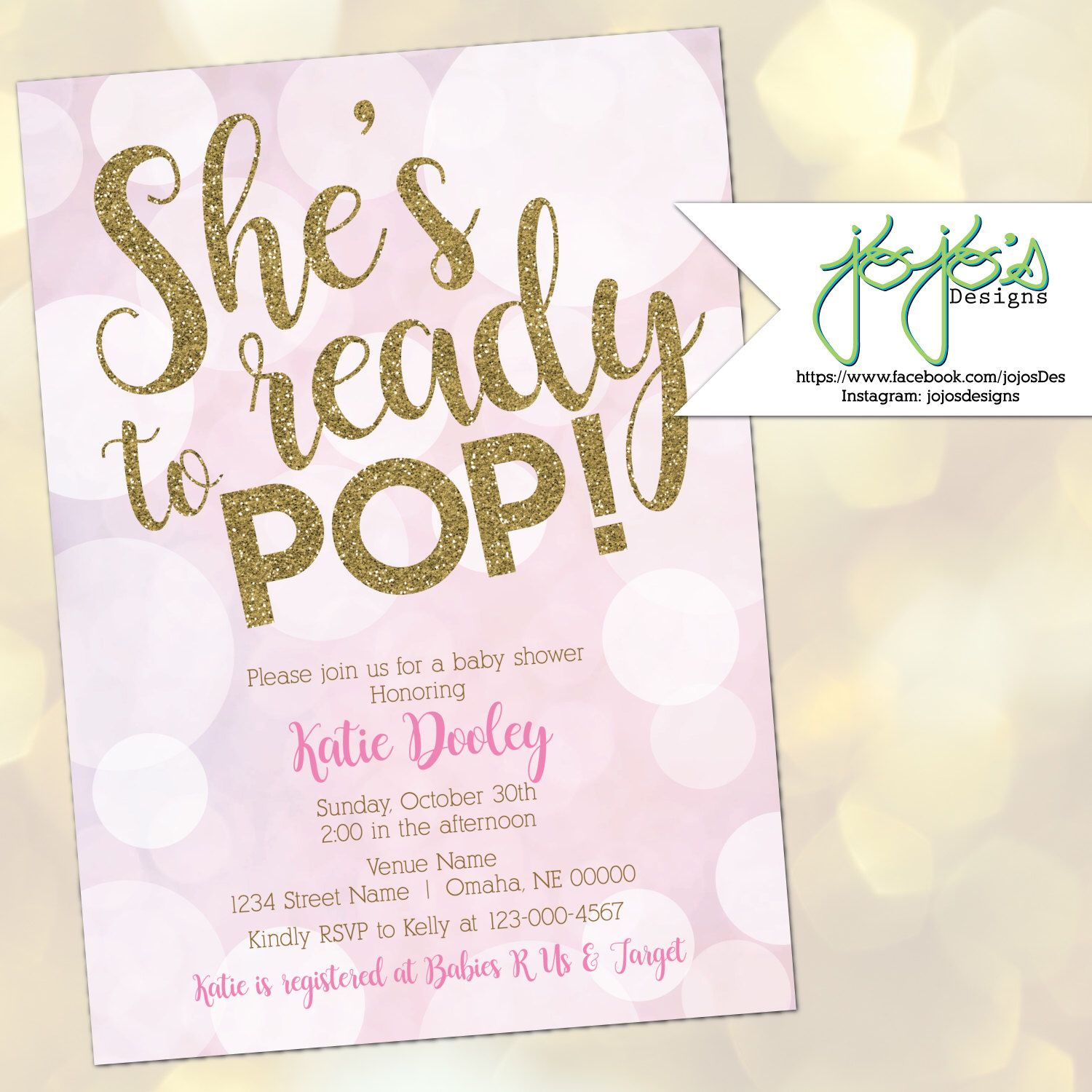 She\'s Ready to Pop Baby Shower Invitation, Baby Girl, Bubbles, Light ...