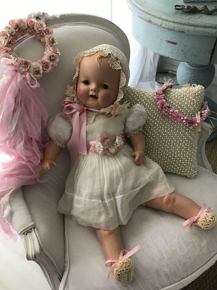 Baby Hendren 28 Large Composition Doll Ebay Baby Dolls Big Baby Dolls Vintage Dolls