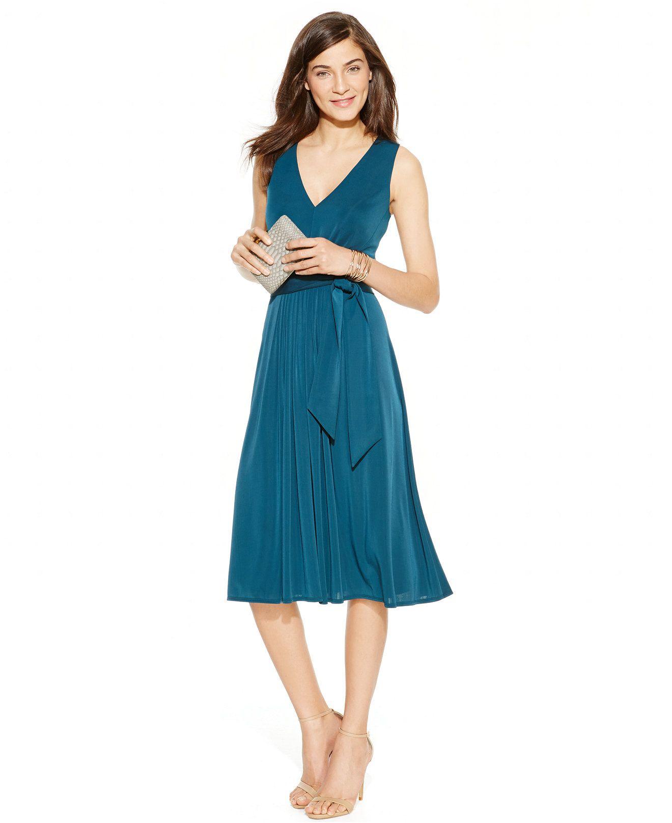 Anne Klein Sleeveless Belted A-Line Dress - Dresses - Women - Macy\'s ...
