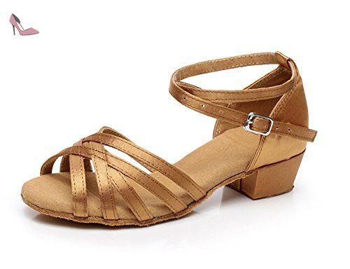 Minitoo QJ2002 enfants cheville écoles de danse Satin latins chaussures, Bronze - bronze, 38 EU - Chaussures minitoo (*Partner-Link)