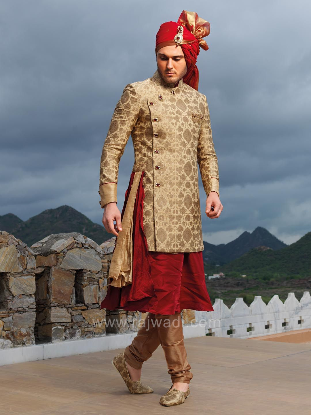 Stylish maroon kurta with stylish koti rajwadi designer exclusive
