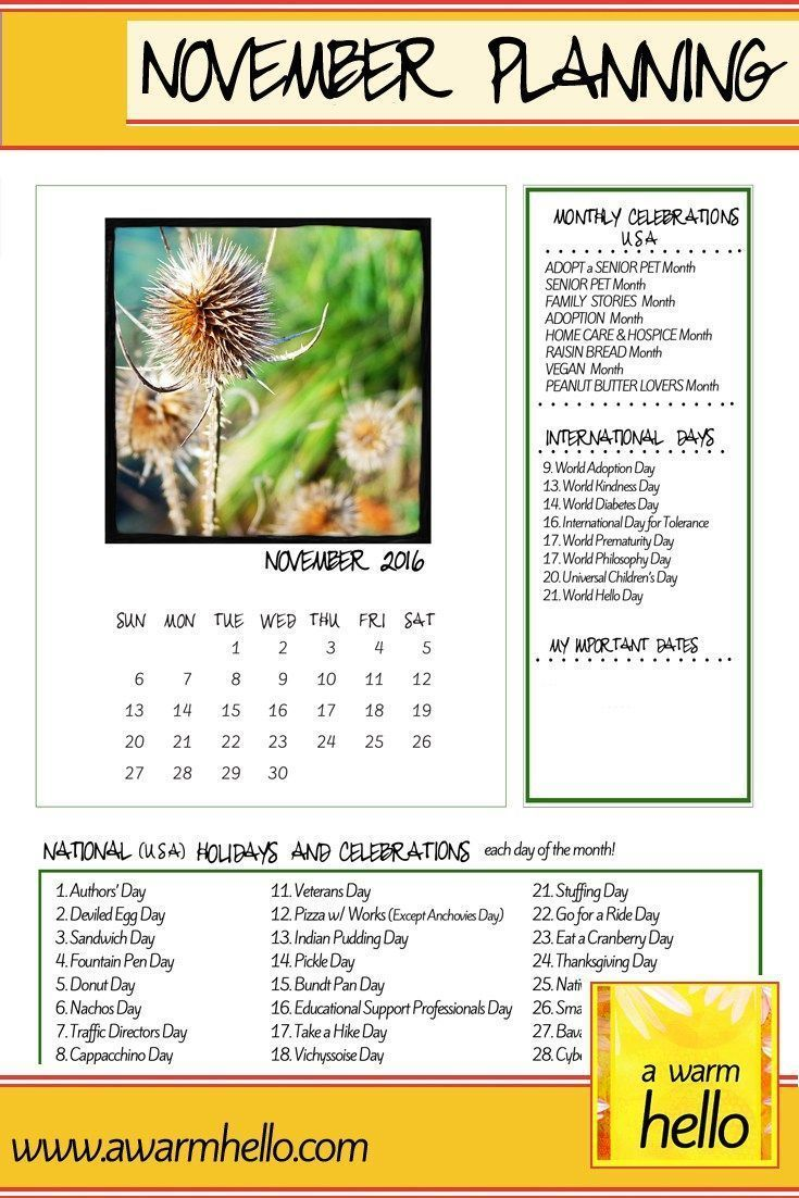 Hello November! Celebrate November with a Planning Calender listing special US celebrations thoughout the month! Free download! #hellonovembermonth Hello November! Celebrate November with a Planning Calender listing special US celebrations thoughout the month! Free download! #hellonovembermonth Hello November! Celebrate November with a Planning Calender listing special US celebrations thoughout the month! Free download! #hellonovembermonth Hello November! Celebrate November with a Planning Calen #hellonovembermonth
