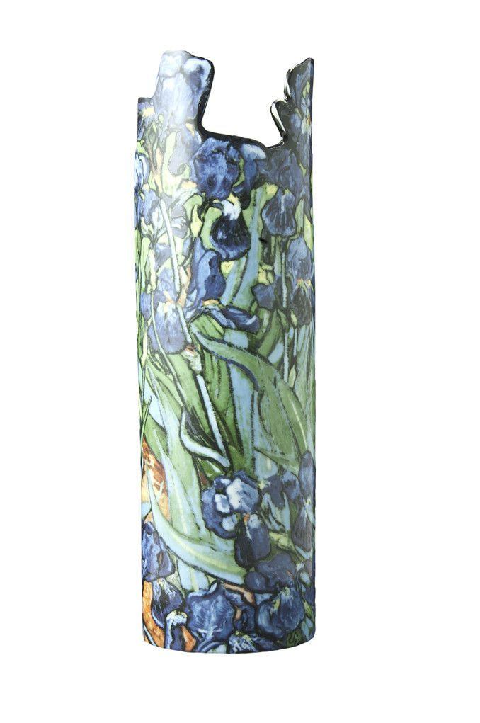 Silhouette de Art Van Gogh Irises Porcelain Vase