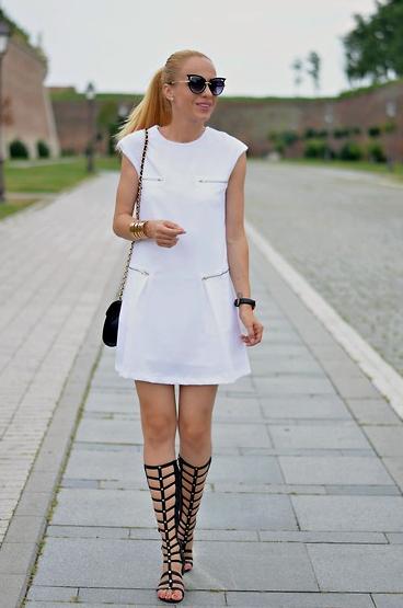 White Cap Sleeve Zipper Dress-SheIn