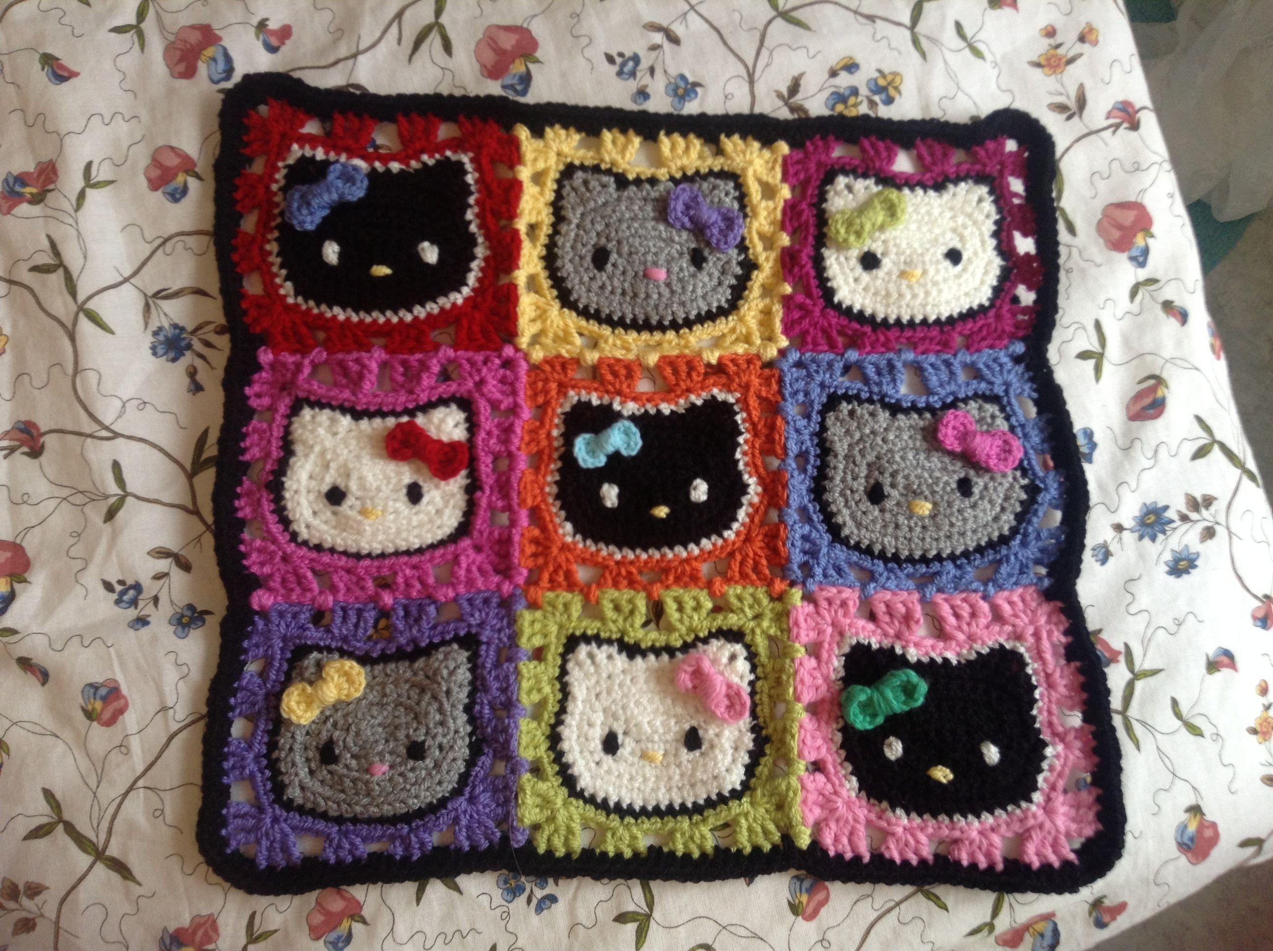 Crochet Hello Kitty blanket for a little cat :)   Kids   Pinterest