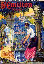 Affiche chemin de fer Orléans St-Emilion