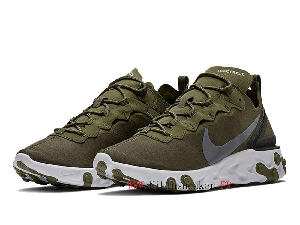 2020 Nike React Element 55 Blanc / vert prairie BQ6166-200 ...