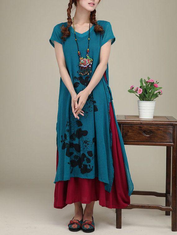 Blue cotton dress original dress maxi dress di originalstyleshop, $75.00