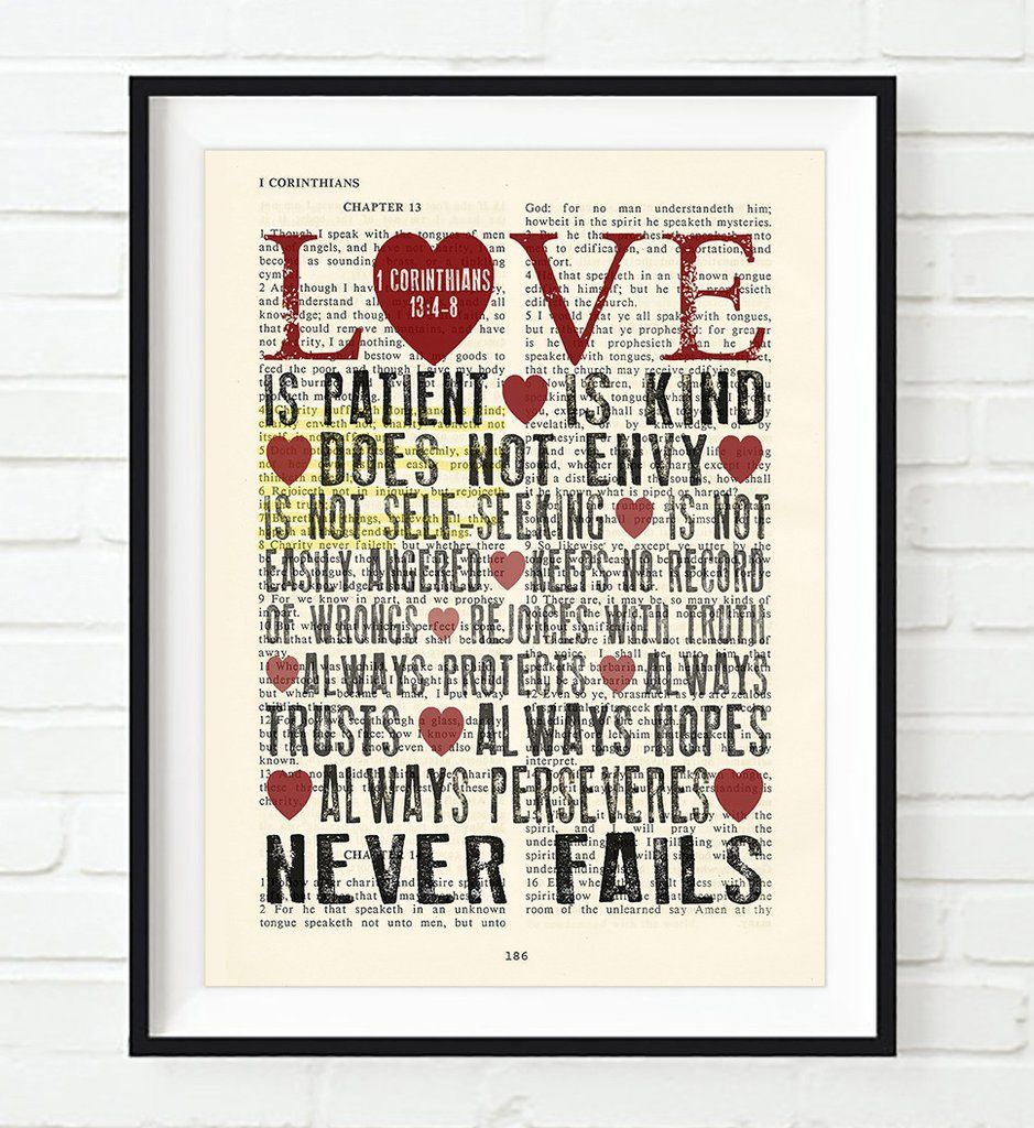 Love Is Patient Quote Love Is Patient Love Is Kind  1 Corinthians 1348 Bible Page Art