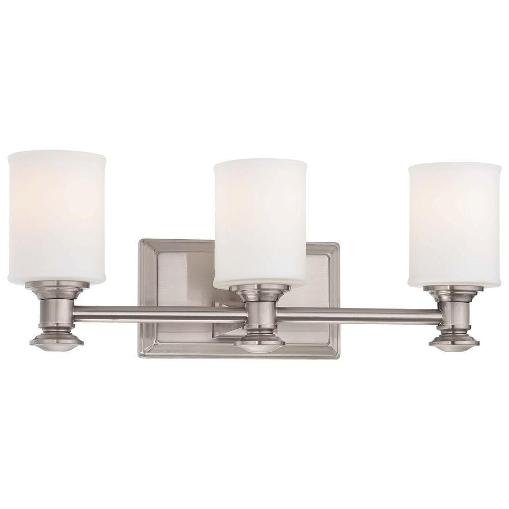 Minka Lavery Harbour Point 3Light Brushed Nickel Bath Light Endearing Home Depot Bathroom Light Fixtures Design Inspiration
