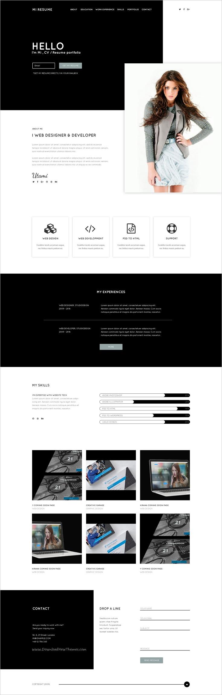 Fein One Page Vcard Lebenslauf Portfolio Website Vorlage Galerie ...