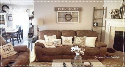 Farmhouse Living Room Brown Couch Gray Walls 58+ Ideas images