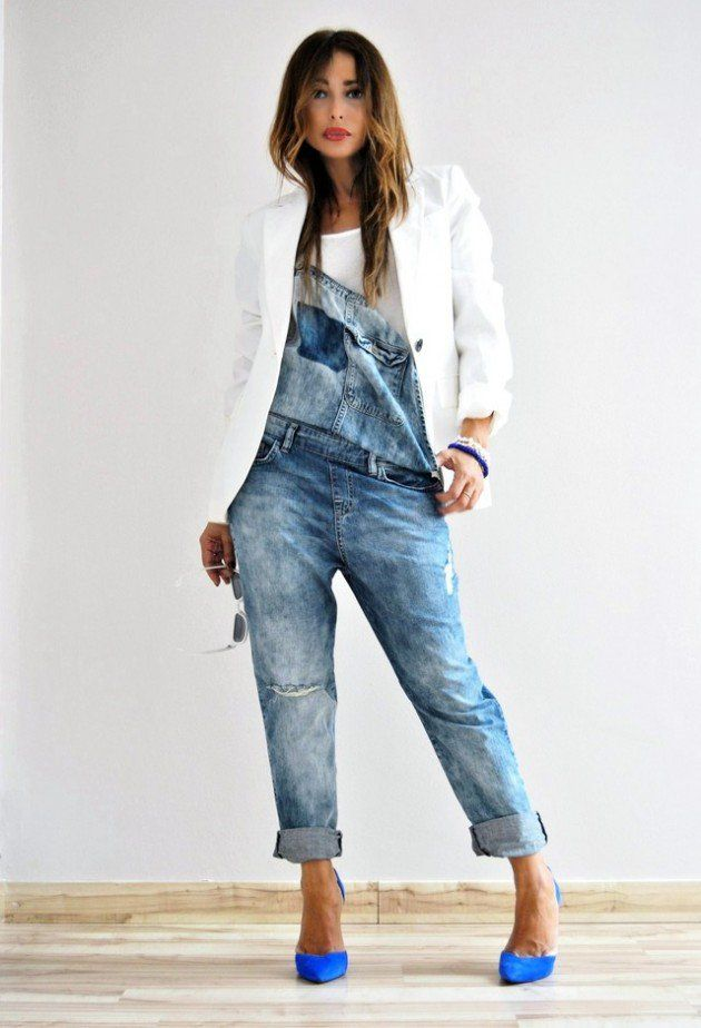 a189f844c549 Glam up overalls with a white t shirt underneath and a white blazer worn  over the look. . with heels