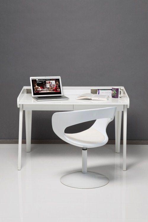 Kare Schreibtisch Sekretär Hochglanz weiss White Club | Büro ...