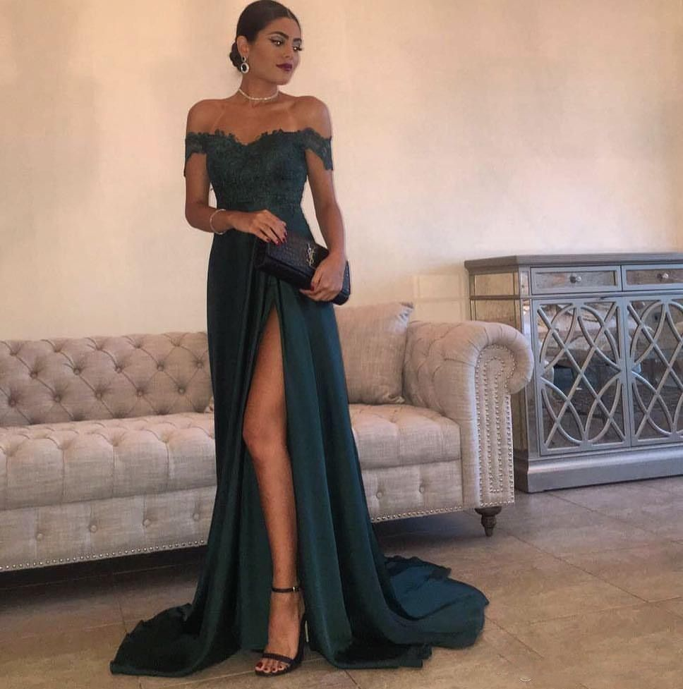 Sexy off shoulder lace sleeves dark green slit evening dress prom