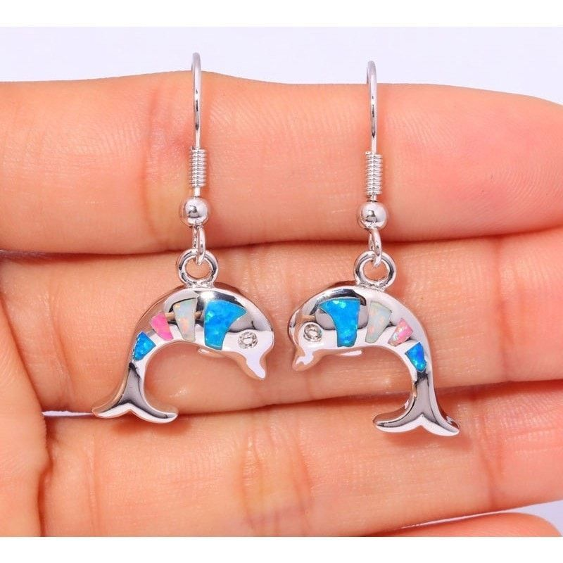 """DOLPHIN WHOLESALE & RETAIL FOR WOMEN JEWELRY BLUE WHITE PINK FIRE OPAL SILVER PLATED EARRINGS 1 3/8"""" OH2736"""