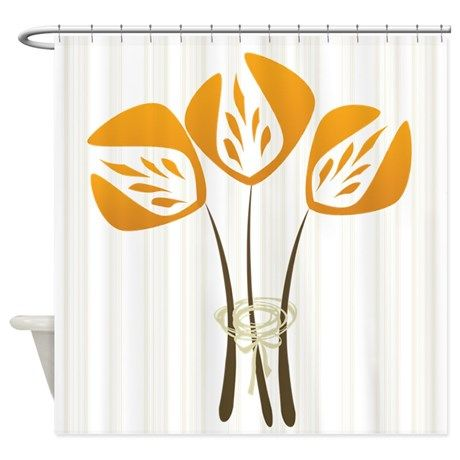 Gardener Floral Orange Black Shower Curtain