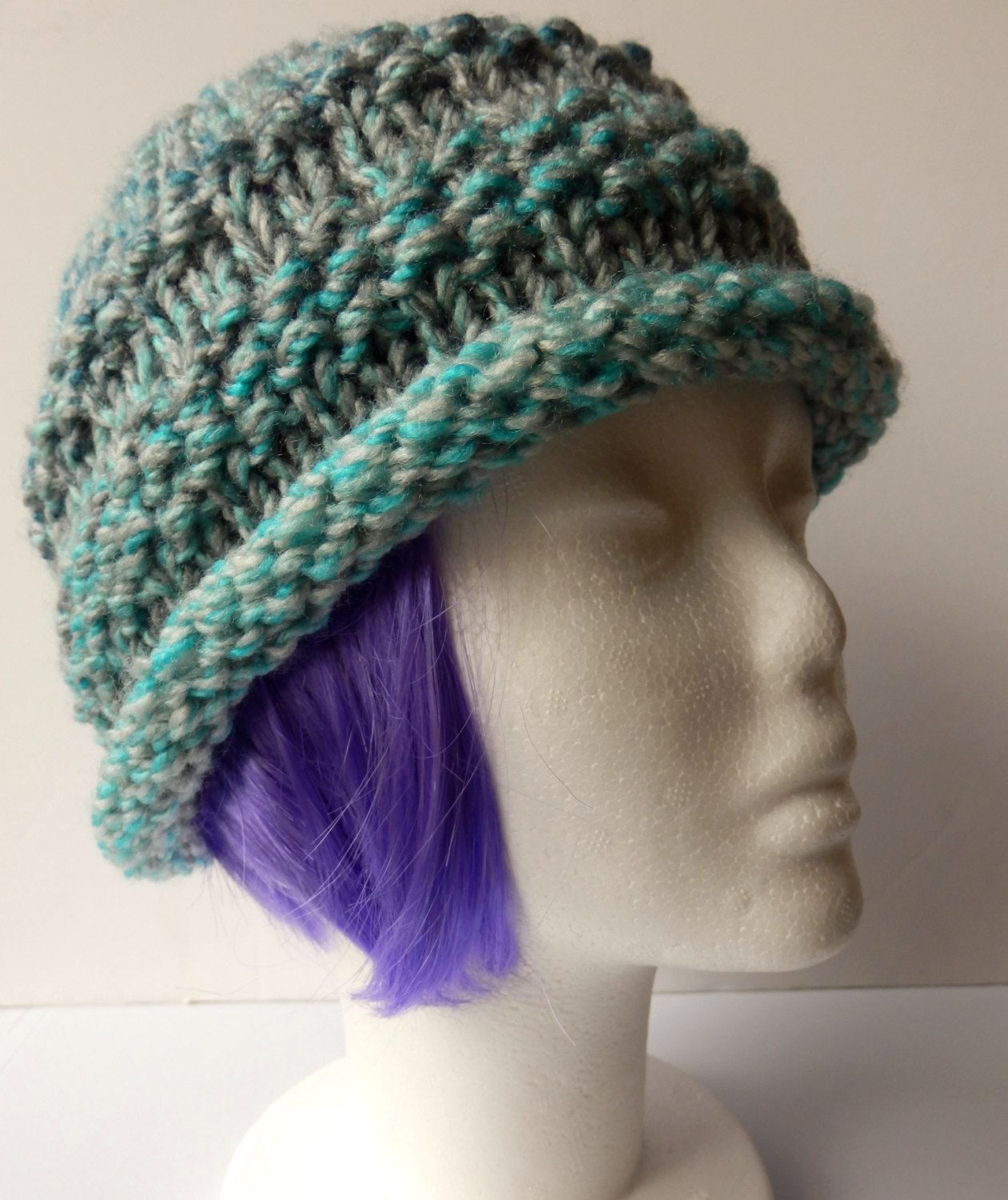Ladies Warm Striped Chunky Beanie Hat in Shades of Turquoise and Grey (Winter, Autumn, Spring, Hand Knitted) - pinned by pin4etsy.com