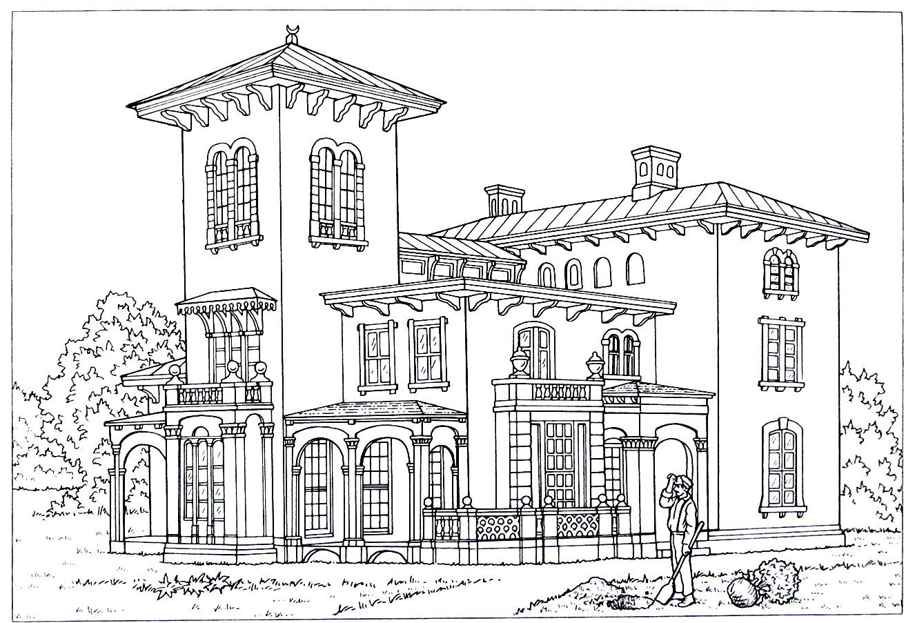 Victorian House printable coloring book page. Style is an