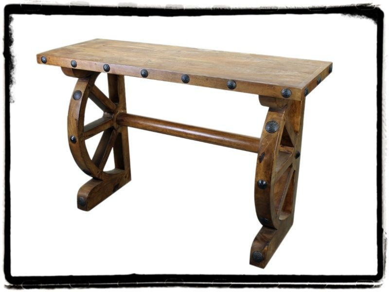 Old World Console Table With Half Wagon Wheels