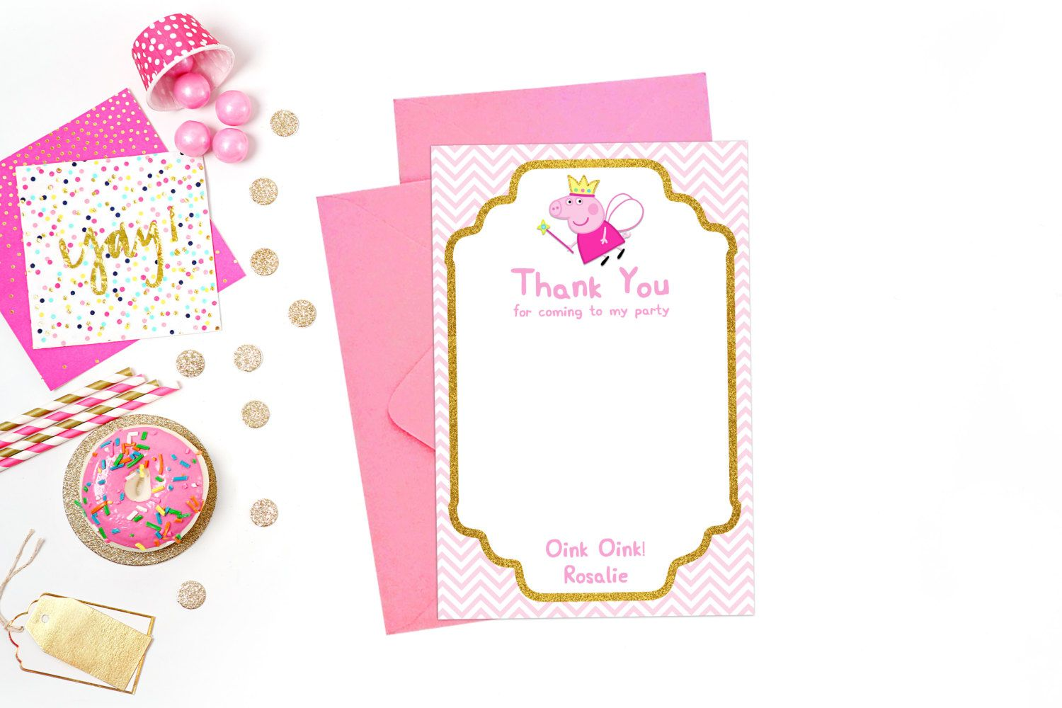 Thank You Card Peppa Pig Birthday Party Printable Personalized