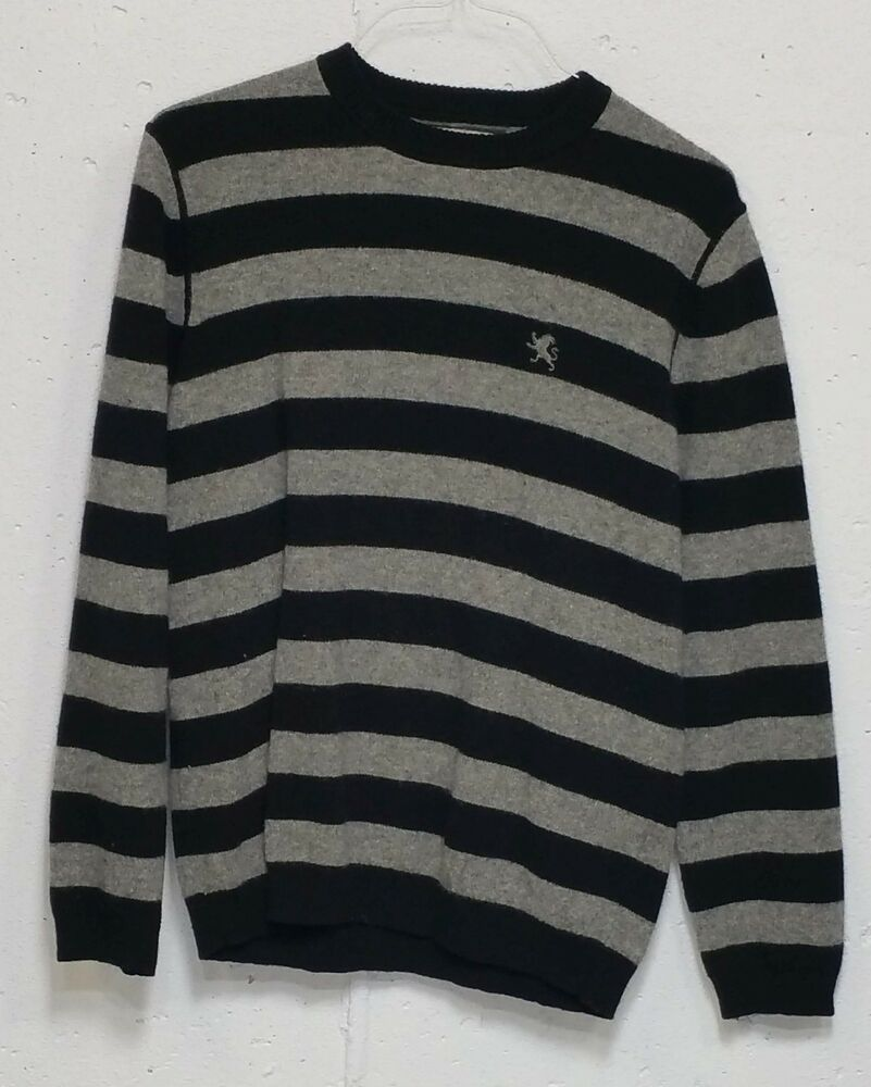 Mens IZOD Long Sleeve Stretch Cotton Blue Striped Polo Sweater Small Large NWT